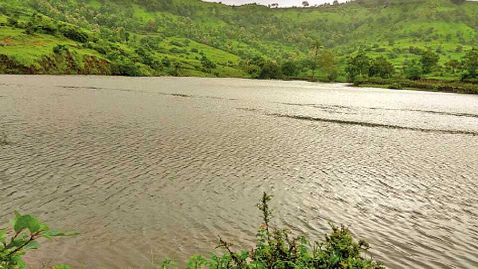 शिंदेवाडी (ता. शिराळा) येथील पूर्ण क्षमतेने भरलेला पाझर तलाव.