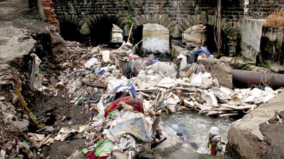 कसबा पेठ - येथील नागझरी नाल्यामध्ये साठलेला कचरा व राडारोडा.