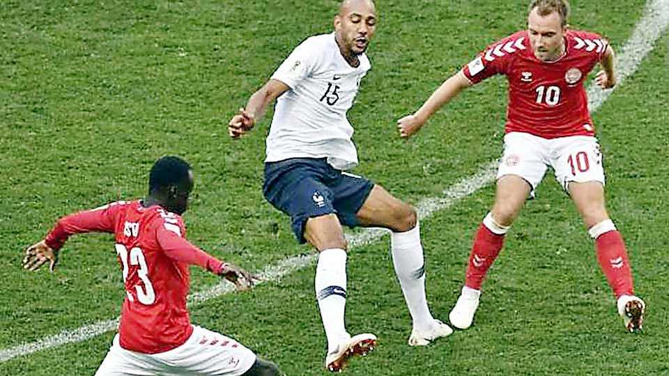 Denmark vs France match tied