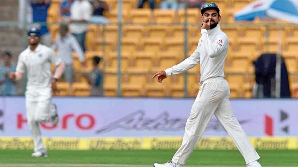 कसोटी जिंकल्यानंतर भारतीय कर्णधार विराट कोहलीची बोलकी प्रतिक्रिया.