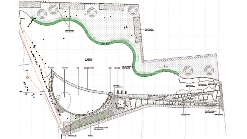 ऑरिकमध्ये साकारण्यात येणाऱ्या तलावाचे डिझाईन.