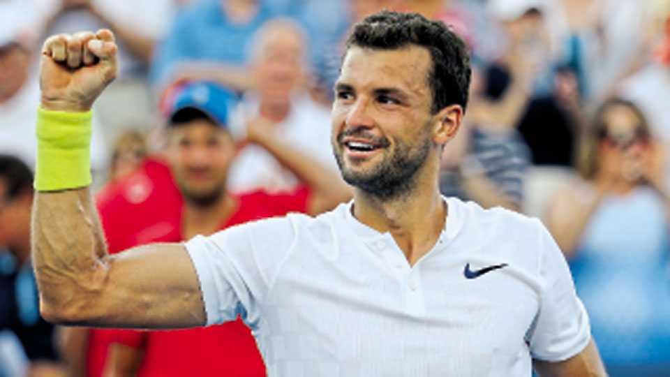 मॅसन ओहयो - सिनसिनाटी टेनिस स्पर्धेत अंतिम फेरीत ऑस्ट्रेलियाच्या निक किर्गीओसवर विजय मिळविल्याचा आनंद व्यक्त करताना दिमित्रोव.