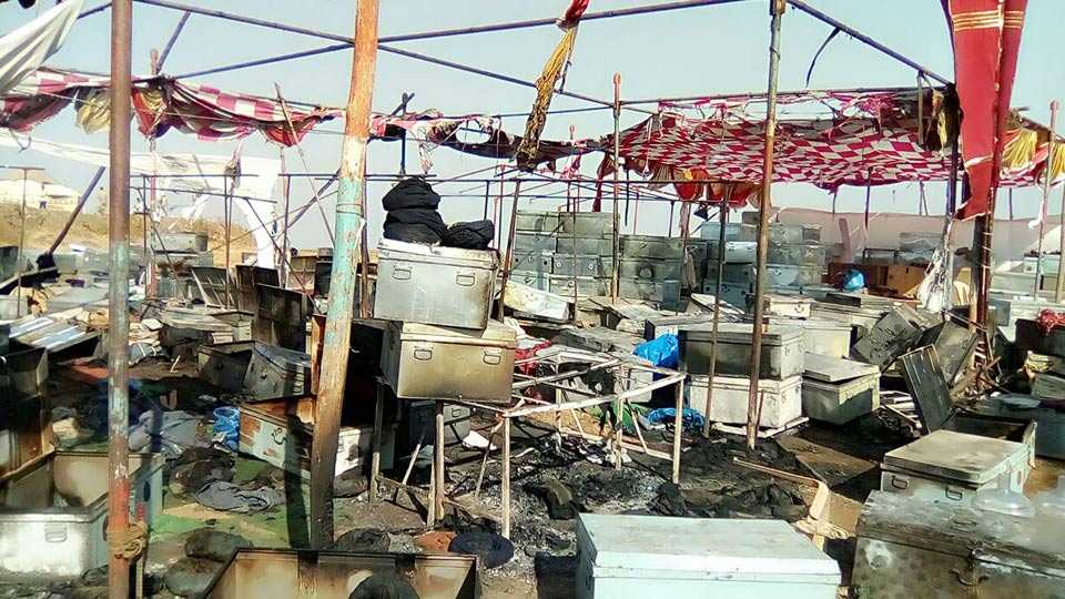 fire Padmavati shooting set at Masai pathar in Kolhapur