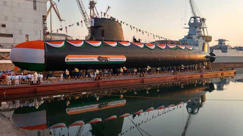 Second Scorpene class submarine Khanderi launched in Mumbai