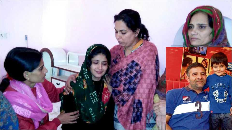 Major Satish Dahiya's wife Sujata being consoled by her family members. And Major Satish Dahiya with his daughter Priyansha. (courtesy: hindustantimes)