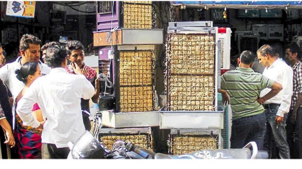 आर्य समाज चौक, पिंपरी - कूलर व एसी खरेदीसाठी नागरिकांनी केलेली गर्दी.