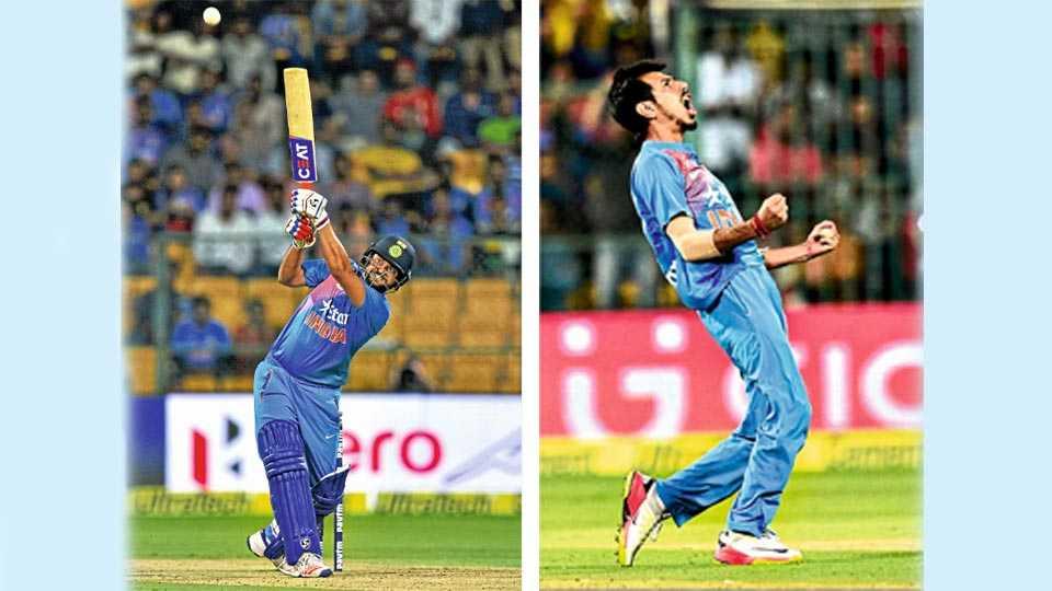 बंगळूर - 1) तिसऱ्या टी 20 सामन्यात आक्रमक फलंदाजी करणारा भारताचा सुरेश रैना आकर्षक फटका मारताना. 2) इंग्लंडच्या ज्यो रूटला बाद केल्यानंतर भारताच्या विजयात मोलाचा वाटा उचलणारा यजुवेंद्र जल्लोष करताना.