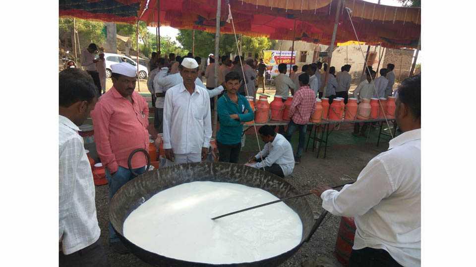 Free Milk Distribution Against Government At Lakhganga