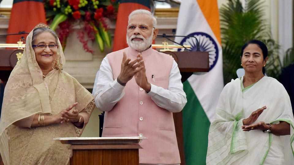 Prime Minister Narendra Modi, Sheikh Hasina and Mamata Banerjee