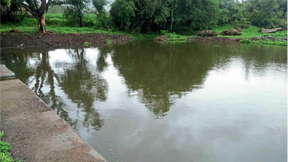 रायगाव (ता.जावळी) - येथील तलाव भरून वाहू लागला आहे.