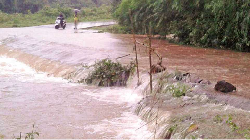झरेबांबर - मुसळधार पावसाने येथील रस्त्याला नदीचे रूप आले.