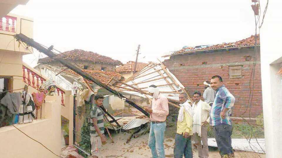वर्धा -वादळामुळे टिन उडून नुकसान झालेले घर.