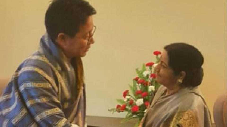 Shushma Swaraj meets Bhutanese Foreign Minister Damcho Dorji