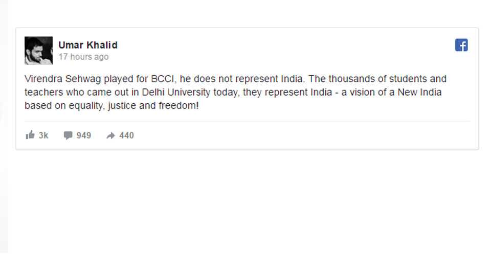 virendra sehwag represents bcci not india umar khalid