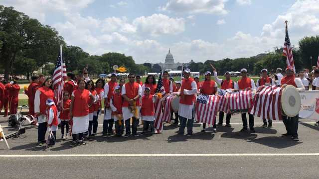 America's Independence Day celebrated in the Dhol-tasha group